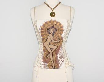 DOLCE & GABBANA Vintage Lace Up Cotton Bustier Iconic Lingerie Corset