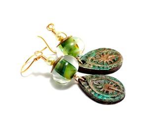 Green Lampwork Bead Earrings. Elvish Earrings. Long Dangle Earrings. Artisan Clay Star Charms. Boho Magic Earrings. Glass Bead Jewelry.