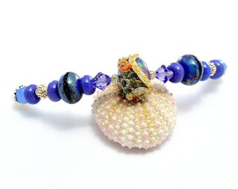 Lampwork Bead Necklace. Blue-Lavender Glass Bead Necklace. Beach Boho Jewelry. Artisan Glass Beads. Gifts For Her. Lampwork Jewelry.