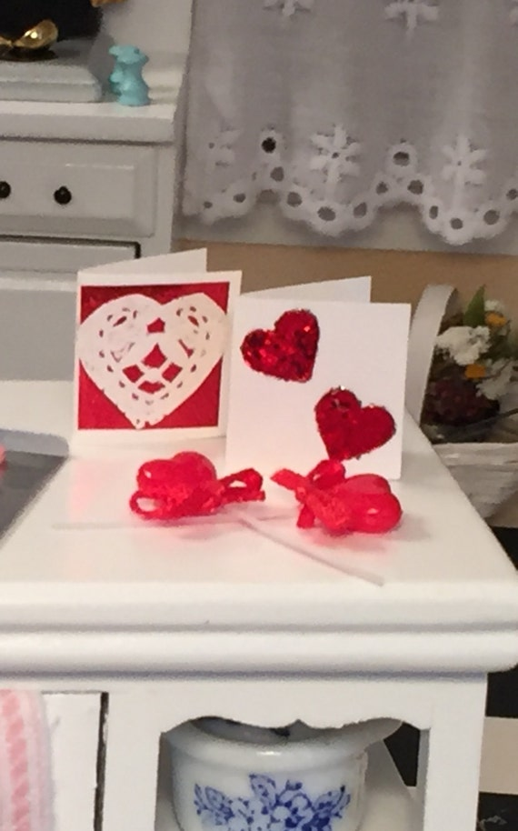 Miniature Valentine Set, Cards and Heart Lollipops, Dollhouse Miniature, 1:12 Scale, Holiday Decor, Valentines Day, Mini Hearts