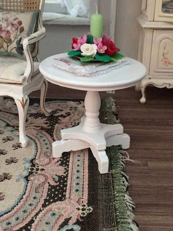 Miniature End Table, Round White Wood Table, Dollhouse Miniature Furniture, 1:12 Scale, Miniature Table, Round Table