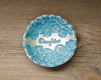 Daughter Gift Personalized Vintage Floral Lace Ring Bowl SMALL SIZE Jewelry Holder Dish For Her, Vintage Style Turquoise Blue & Pearl Finish