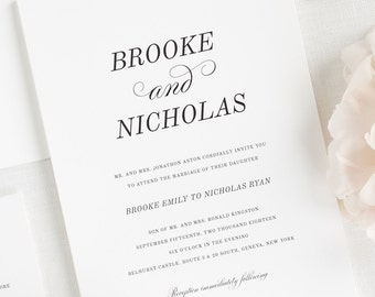 Classic Romance Wedding Invitations - Deposit