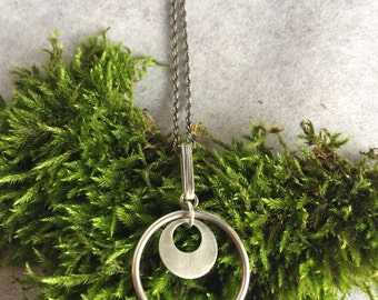 Open Circle Silver Necklace, Silver Hoop Pendant Necklace, Layering Necklace, Cool Gifts for Women, Silver Pendant Necklace