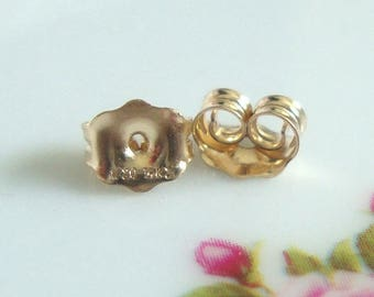 6 pcs, 5.1x4.5mm, 14K Gold Filled Ear Nuts, Ear Back, Hallmarked