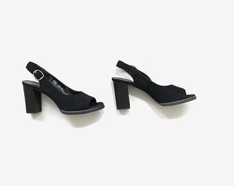 Vintage Leather Mules 6.5 / Slingback Heels / Slingback Mules / 70s Heels / Peep Toe Mules