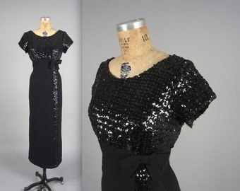 1960s sequin gown • vintage 60s dress • glitzy formal evening gown  • Larger size