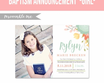 LDS Baptism Invitation 5x7 size printable-Girl Baptism Announcement-LDS-Primary-Digital File