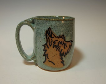 Scottie Dog Puppy Scottish Terrier Mug in Frosty Blue Green - Holds 18 ounces - In Stock
