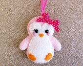 Pink Penguin Felt Decoration, hanging decoration festive decor cute christmas tree decorations felt bird pink xmas ornaments penguin gifts