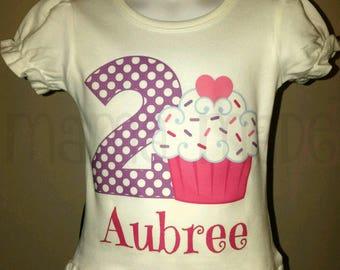 Girl's Birthday Shirt, Cupcake Birthday Shirt, Cupcake Party Shirt, Personalized Birthday Shirt, Cupcake Shirt, Birthday Cupcake Shirt