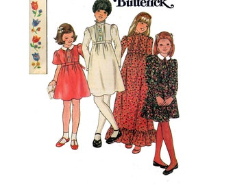 70s Girls Boho Dress Maxi Pattern Butterick 5603 Vintage Sewing Pattern with Embroidery Transfers Size 8 Breast 27 inches UNCUT Factory Fold