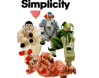 Simplicity 5259  Soft Toys Stuffed Clowns 80s Vintage Sewing pattern UNCUT Factory Folded
