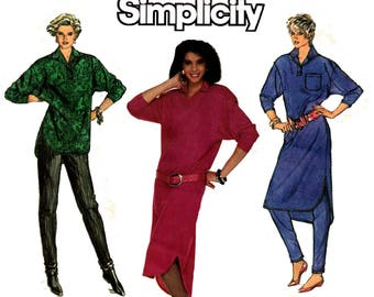 Simplicity 7599 Womens Stretch Shirt Shirtdress Pants 80s Vintage Pattern Size 6 8 10 Bust 30 1/2 31 1/2 32 1/2 inches UNCUT Factory Folded