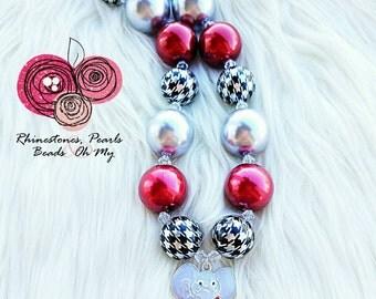 University of Alabama Necklace, Roll Tide Jewelry, Alabama Alumni Accessory, Big Al Necklace, Bama Necklace, Big Al Jewelry, Crimson