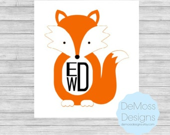 Fox Monogram Vinyl Decal, Solid Colors, Fox Sticker, Removable, Car Decal, Beach Vinyl, Personalized