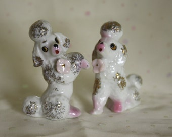 Poodles Set Vintage 50s figurines Porcelain marked Japan Sweet dogs with gold trim Cute expressions Detailed flowers Poodle Lovers