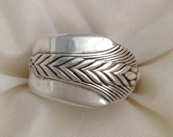 Spoon Ring ALLURE 1939 Art Deco Wheat Pattern Size 5 to 12 Choose Your Size Vintage Silverplate Silverware Jewelry
