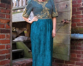 vintage 80s Mary McFadden Couture dress gown Emerald Teal Green Gold metallic embroidery bold shoulders Fortuny pleats