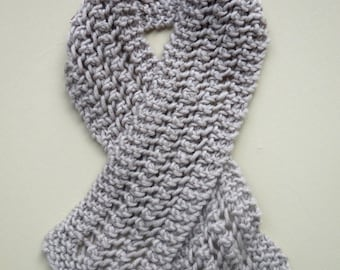 COZY SCARF Child's Gray/Biege Lacey knit Stretch Neck Wrap Childrens Winter Neutral Open Lace Gift
