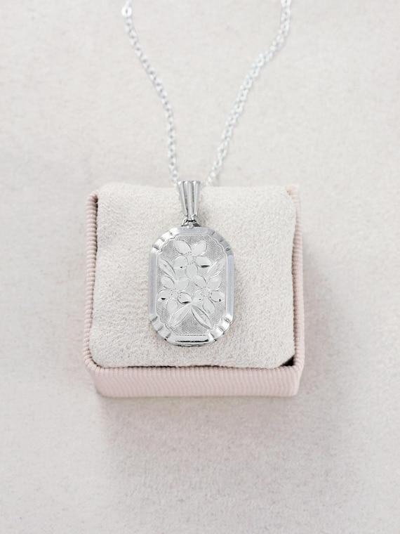 Vintage Silver Locket Necklace, Rectangle Bevelled Edge Unusual Photo Pendant - Symmetrical Swirls