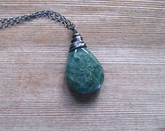 Moss Agate Necklace, Green Stone Pendant, Tree Agate Natural Stone, Moss Agate Jewelry, Sterling Silver