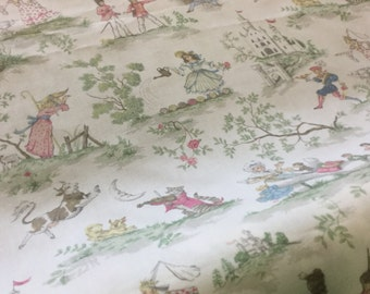 "56"" Wide Over the Moon Children Cream Cotton Toile Home Decorator Preshrunk Fabric Baby Fairytale Nursery Rhymes Humpty Dumpty Upholstery"