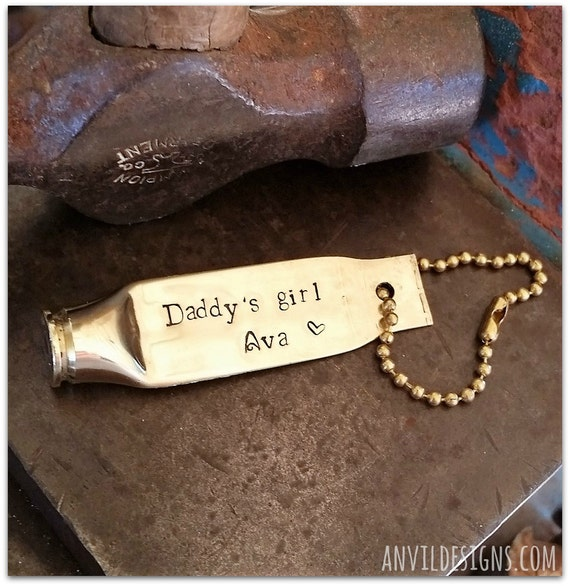 Daddy's Girl, Bullet Keychain, Bullet Keyring, Father of the Bride, New Dad, Personalized, Hand Stamped, Military Daddy, Hunting Dad, Police