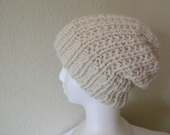 White Cream Undyed Handknit Slouchy Beanie Hat for teen boys, men's beanie, women's hat