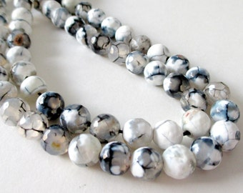"""Agate Faceted Beads - Black White Agate Beads - Faceted Round Ball Natural Gemstone - 16"""" Strand - 8mm - Diy Jewelry Beading"""