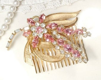 OOAK Vintage Rose Blush Pink Rhinestone Gold Bridal Hair Comb, Clear Pink Crystal Hairpiece, Pink Headpiece, Romantic Wedding Rustic Country
