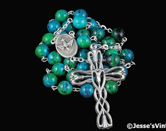 Anglican Rosary Blue Green Black Chrysocolla Stone Prayer Beads Silver Christian Episcopal Rosary Beads