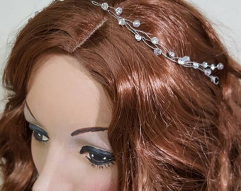 Bridal Hair Vine Rhinestones Crystals Beaded Wire Headband Crown Handmade