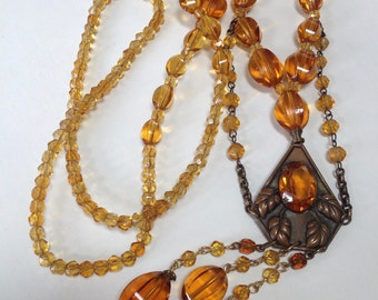 Faceted Amber Glass Brass Graduated Flapper Length Deco Sautoir Necklace