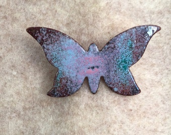 Vintage Enameled Copper Pin, 60's Butterfly Pin or Brooch, Lavender and Blue
