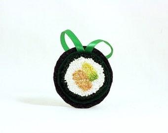 Salmon Avocado Roll Sushi Christmas Ornament. Punchneedle. Food Art. Orange, White Green. Gift for Foodie
