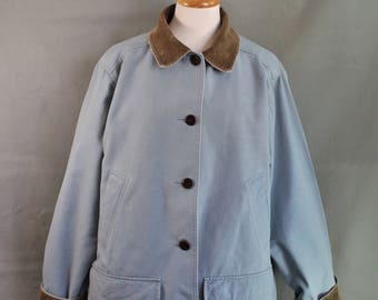 LL Bean Barn Coat, Slate Blue Cotton Canvas Field Jacket Chore Coat, Womens Outdoor Coat, Spring Jacket, Vintage, Womens Large