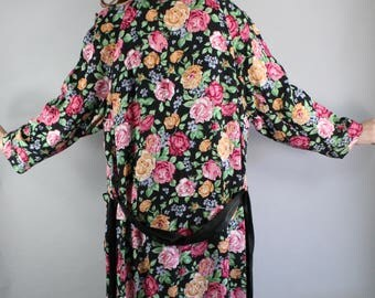 Floral Robe, Vintage 80s, Pink Roses, Summer Robe, Boudoir, Loungewear, Nightwear, Wedding Night, Size Large, FREE SHIPPING