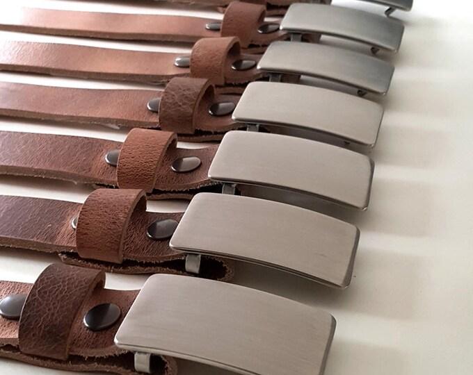 Classic Wedding Belt and Buckle Set ~ Groom & Groomsmen Gift ~ Wedding Keepsake ~ Brushed Stainless Buckle w/ Distressed Leather Snap Belt