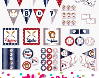 Baseball Baby Shower Printable Package - Baseball Party Decorations - Boy Banner Cupcake Toppers Favor Tag Sign- navy red Instant Download