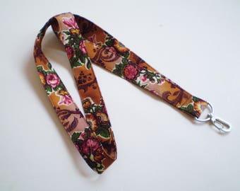 Spice Rose Boho Lanyard, Floral Boho Lanyard, Gypsy Rose Lanyard, Boho Key Lanyard, Boho ID Badge Holder