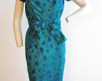 "1950's Grenelle Estevez Blue and Green Rose Brocade Wiggle Dress Waist 25 1/2"""