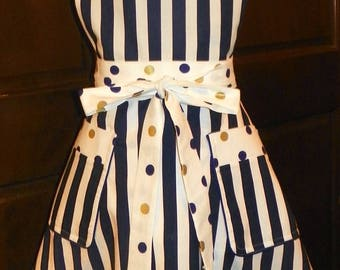 Retro Style Double Skirt Apron Blue Stripes and Polka Dotsl Handmade for Kitchen Cooking Craft Activities Excellent Clothing Protector