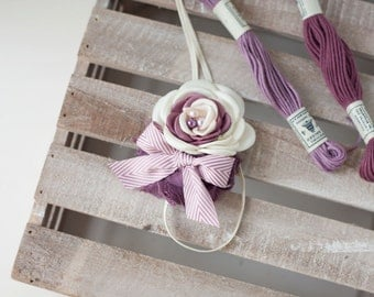 Muted Mulberry- ivory dusty lavender cream sinfed satin rose and chiffon headband bow
