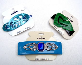 3 vintage Karina hair accessories barrettes hair combs 1980s blue green pearlised theme hair slide hair clip (AAZ)