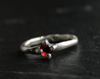 Sterling silver and natural garnet primitive ring - OOAK, ready to ship in size 8