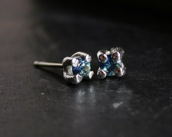 primitive sterling silver and natural sapphires stud earrings