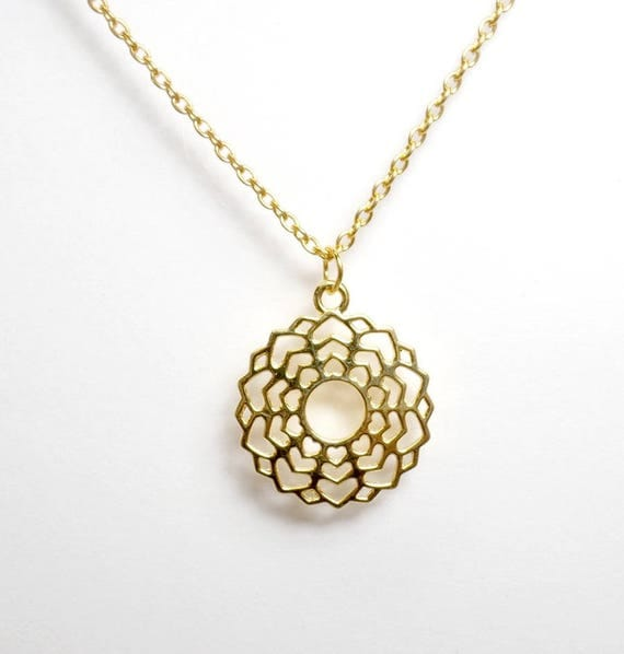 Gold Plated Crown Chakra Necklace - Chakra Charm Necklace - Crown Chakra Pendant