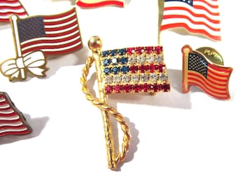 American FLAG Rhinestone Pins Brooches Eight (8) American Flag Rhinestones Ready to Wear Vintage Rhinestone Patriotic Art Jewelry (R44)