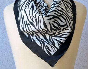 Vintage square scarf: Zebra, animal Print, black and white